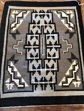 Vintage Navajo Storm Rug Wool Neutral Grey Brown Cream Black 29.5 x 23 Stunning