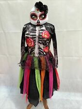 TU Girl's Day Of The Dead Witch Fancy Dress Halloween Costume Age 7-8 Years