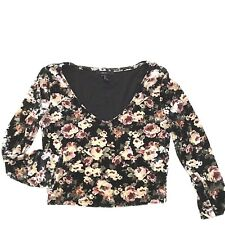 Forever 21 Crushed Velvet Crop Top Dark Floral Womens Size Small Fitted Bodycon