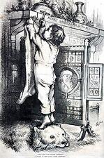 Thomas Nast 1876 NIGHT BEFORE CHRISTMAS STOCKING SANTA CLAUS Matted Engraving