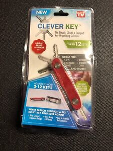 Clever Key Organizer As Seen On Tv EDC LED Light Up To 12 Keys Red Brand NEW