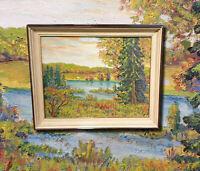 Herbstliche Landschaft mit Flussufer.  Original Ölgemälde auf Leinwand.