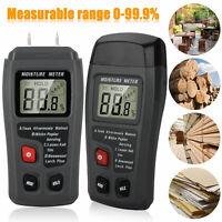 0-99.9% LCD Digital Wood Moisture Meter Humidity Tester Damp Hygrometer Detector