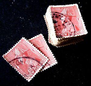 Stamps - New Zealand - pre decimal - 1928 1d Admiral - Bundle of 100 -Good Used
