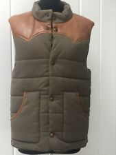 LUCKY BRAND MENS LEATHER 100% COTTON GREEN VEST JACKET SMALL
