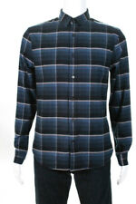 Vince Mens Windowpane Plaid Long Sleeve Shirt Midnight Navy Blue Cotton Size XL