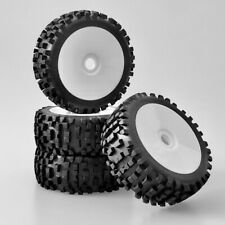 Buggy Tyre Wheels Set Attack With Disc Rim White 1:8 4 Piece partCore