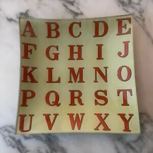 "Signed JOHN DERIAN Red Alphabet Un Vide Poche 6"" Square Decoupage Glass Plate"
