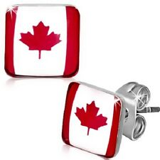 Stainless Steel Square Canada Canadian Flag 7MM Stud Earring     b27