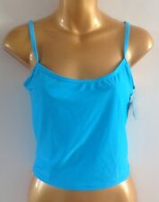 Blue Ladies Tankini Top UK 10 - 12 New Plain Blue swimwear beachwear vest style