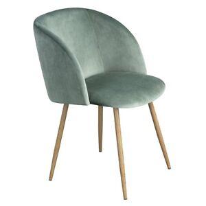 1XSilky Samt Akzent Sessel für kleine Küche Esszimmer Büro Wohnzimmerstuhl Grün
