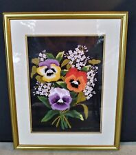 Japanese Bunka Embroidery Art Framed Pansies & Lilacs Completed