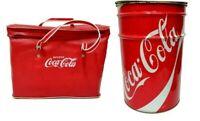 pouff bidone sgabello in latta + borsa termica coca cola vintage anni 70 puff
