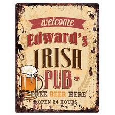 PMBP0019 EDWARD'S IRISH PUB Rustic tin Sign PUB Bar Man cave Decor Gift