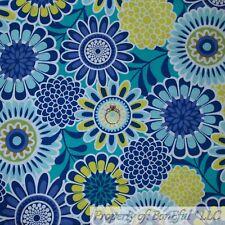 BonEful FABRIC FQ Cotton Quilt Green Blue Aqua White Bright Large Flower Garden