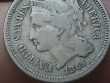 1865 Three 3 Cent Nickel- VG/Fine Details