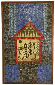 DAVID HOLLEMAN Mid Century Chinese Lantern Sgraffito Mosaic Tile Wall Panel Art