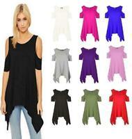 Womens Oversized Cold Shoulder Hanky Hem Cap Sleeve Baggy Plain Top Ladies Dress