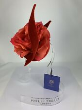 NWT Philip Treacy Red Velour Fascinator With Red Flower & Red Swirls