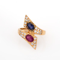 Estate 14K Yellow Gold Ruby Sapphire Diamond Accent Cocktail Ring 1.70 TW Size 6
