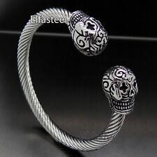 Silver Joker Skull Cable Stainless Steel Cuff Bracelet