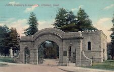 VINTAGE 1911 Ottumwa Iowa Cemetery Stone Entrance Printed Post Card