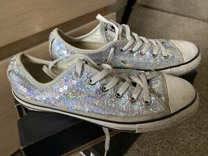 Converse Ox Silver Sequins Size 6 UK Used Trainers Sneakers