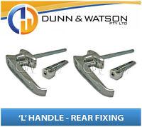 Chrome Plated Rear Fixing 'L' Lock / Handle (Trailer Caravan Canopy Toolbox) x2