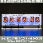 IN-12 NIXIE TUBES CLOCK ON ACRYLIC STAND WITH OPTIONS FREE SHIPPING