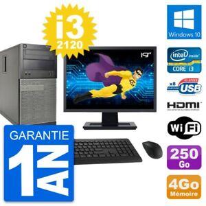 """PC Tour DELL 390 MT Screen 19 """" i3-2120 RAM 4Go Disk 250Go HDMI Windows 10 Wifi"""