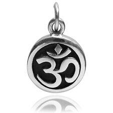 Símbolo Ohm sánscrito encanto plata esterlina .925 Om Yoga Budismo Hindú cmsmom 01
