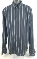 Calvin Klein Casual Button Down Black W/ Blue Stripes Men's Size Extra Large XL