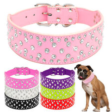 Bling Rhinestone Pet Leather Studded Collar for Medium Large Dogs Wide Necklace