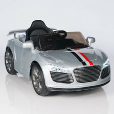 Audi R8 Style Kids Power Wheels Ride On Car MP3 RC Remote Silver 12V Battery