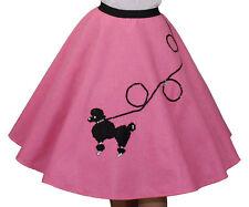 "4-Pcs HOT PINK FELT 50's Poodle Skirt Adult Size XL/3X - Waist 40""-48"" - L25"""