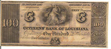 US, CITIZENS' BANK OF LOUISIANA, $100, 18XX  1850-60 , UNC