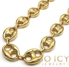 "28"" 56 grams 16.5mm Mens 10k Yellow Real Gold Puffed Mariner Gucci Anchor Chain"