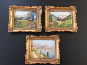 Vintage Miniature Cityscape Signed Painting on a Wooden Board
