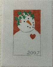 Hand Painted Needlepoint Canvas Snowman With a Heart Unbranded 2007