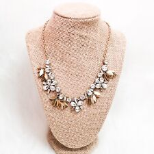 New J. Crew Factory Necklace Crystal Bouquet Gold Statement Jewelry NWT