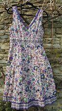 east indian cotton block print  summer dress 14 birds flowers