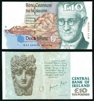 1996 Central Bank of Ireland Ten Pounds Banknote James Joyce Pick 76b Crisp UNC.