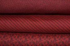 Tissu Patchwork Moda  – Lot de 3 coupons Patchwork rouge foncé – 24x55cm