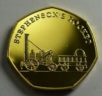 STEPHENSON'S ROCKET Steam Engine Collectable Medal/Token, 24ct Gold, Railway