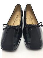 Salvatore Ferragamo Pumps Shoes Women Black Patent Leather Ballet Low Pump 7.5 M
