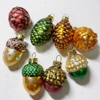 "8 Vintage Glass Pinecone & Acorn Christmas Ornaments 1 1/2""- 2"""