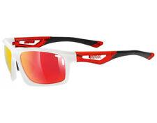Occhiali e monolente da ciclismo con lenti in rosso con montatura in bianco unisex adulto