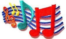 Ecusson patch thermocollant brodé clé de sol - notes de musique