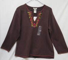 St.John's Bay~Women's NWT Large Embroidered Stretch Pullover Knit Sweater