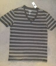 GAP - GREY T.SHIRT WITH WHITE THIN DOUBLE LINES ACROSS AND A V.NECKLINE - BNWT